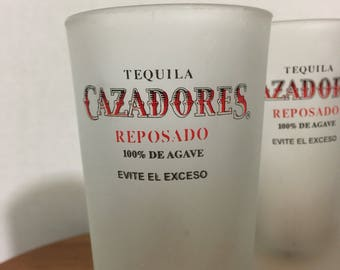 Tequila Cazadores Reposado 100% De Agave Evite El Exceso frosted double shot glasses, set of two.