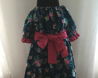 Peasant Dress | Blue with Flowers Pattern | Pink Accents and Bow | Size 4