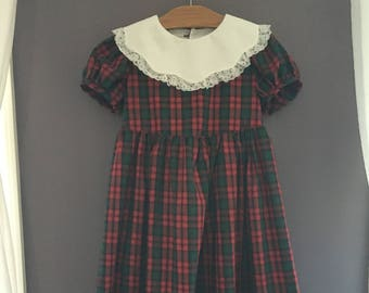 Green and Red Plaid Dress | Girls Size 8