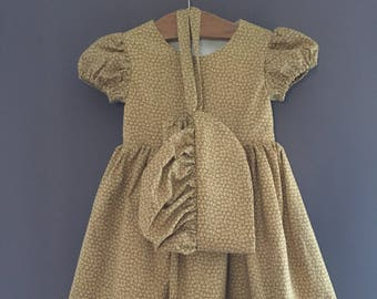Prairie Dress | Little House on the Prairie Fabric | Yellow Cream | Size 2T | with matching Bonnet