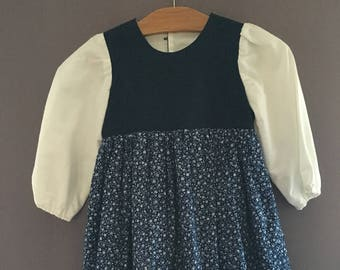 Prairie Dress | Blue with Blue Flowers | Girls 4T