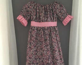 Prairie Dress | Purple with Pink Accents | Size 5 and Size 6