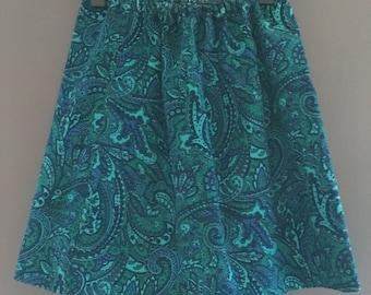 Paisley Pattern Blue Skirt | Girls Size 4/5