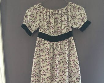 Peasant Dress | Purple, Pink, and Brown Flowers on White with Black Trim