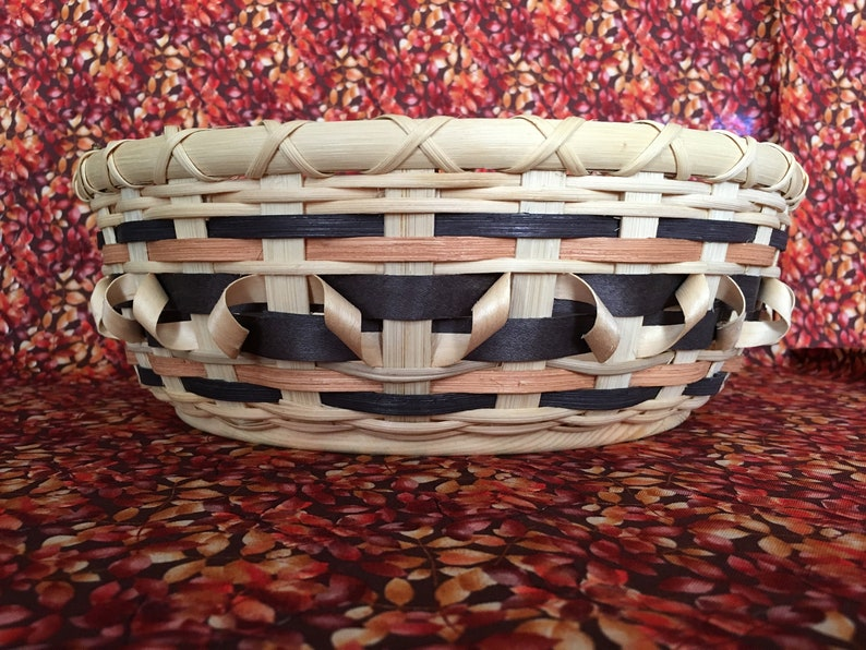 Centerpiece Basket  Natural Color with Ebony and Maple image 0