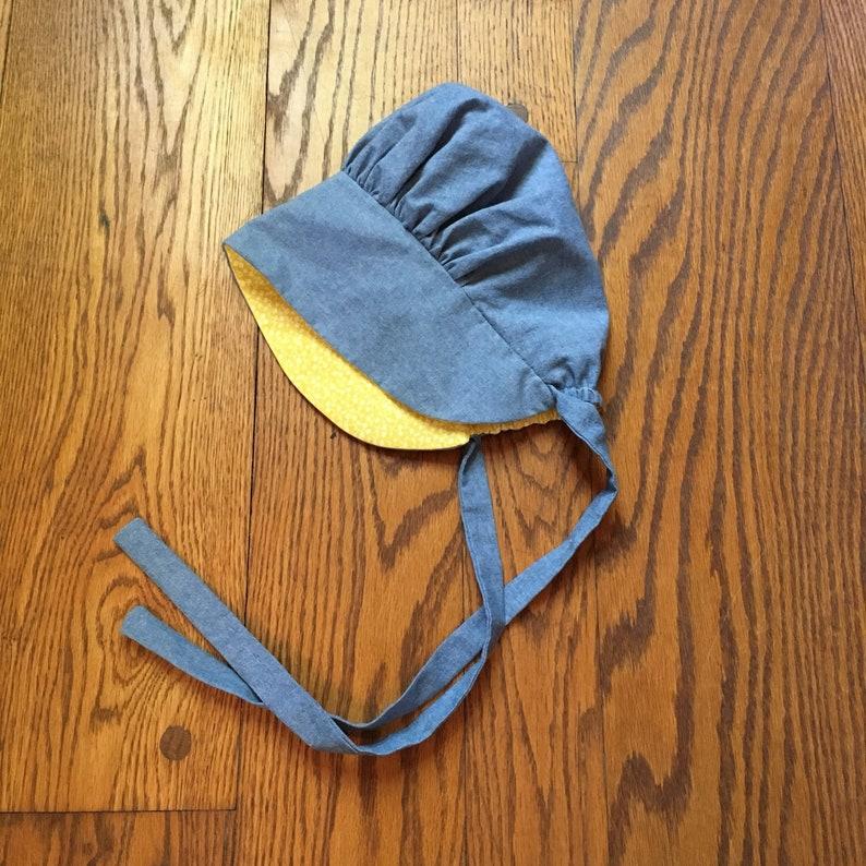 Reversible Bonnet Chambray Children Pioneer Bonnets Baby image 0