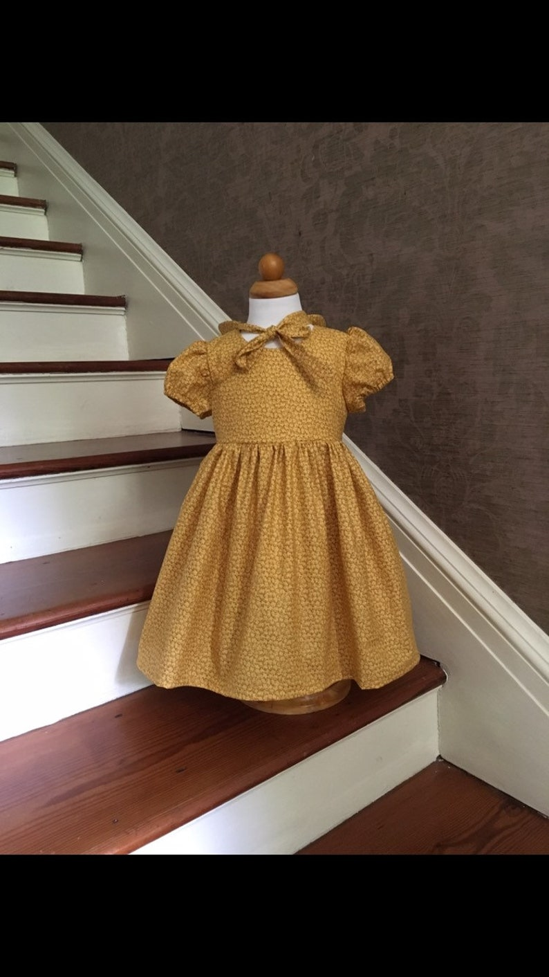Custom Little House on the Prairie Fabric Yellow Dress with Matching Bonnet For Girls 18-24M to Size 6 Brand New Pioneer Girls Prairie Dress