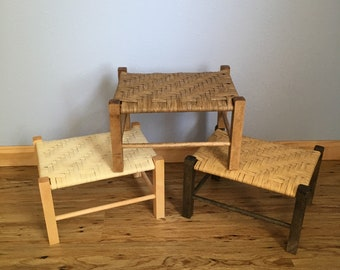 Custom Woven Foot Stool with Beautiful Stained Wood Sealed Reeds Childs Bench Natural Woven Footstools Pre Assembled
