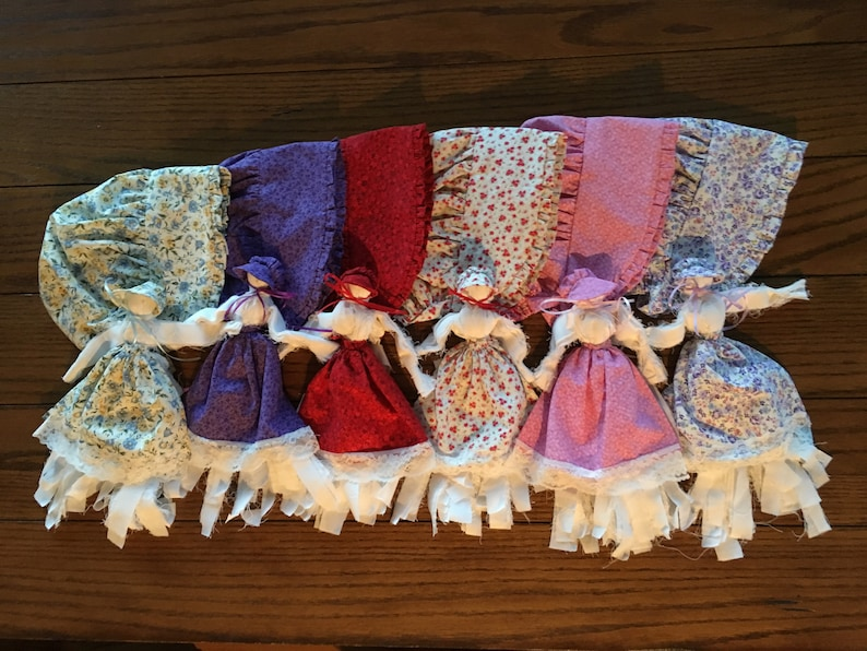 Dolls with/or without Girls Matching Ruffled Bonnets Church image 0