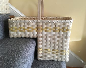 Charming Stair Basket Staircase Basket Stair Step Basket Tote Basket Storage  Handmade Basket With Handles Floor Basket
