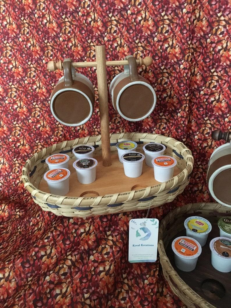 Coffee Mug Tree and Coffee K-Cup Pod Basket  Natural with image 0