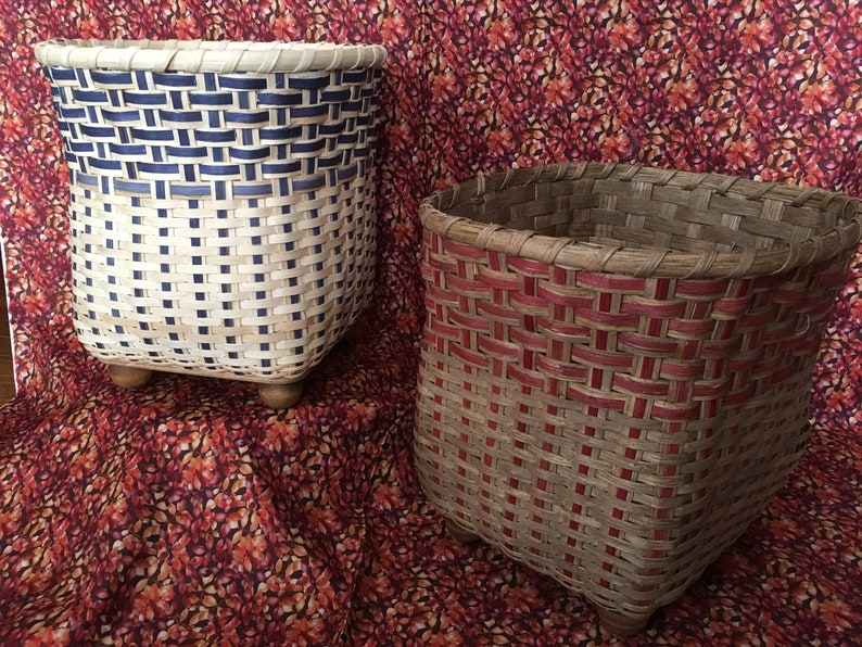 Waste Paper Basket Woven Waste Basket Storage Trash Can Trash image 0