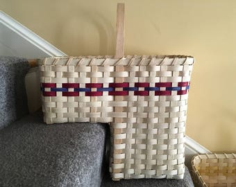 Stair Basket Staircase Basket Stair Step Basket Tote Basket Storage Basket  Handmade Basket With Handles Floor