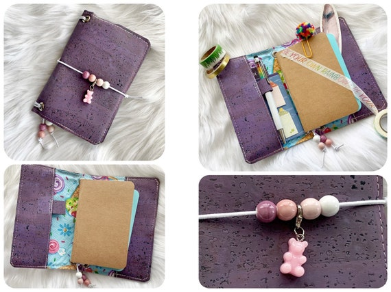 Field notes size TN traveler's notebook, natural cork fabric in purple, Kawaii style with gummy bear charm.  Inserts included