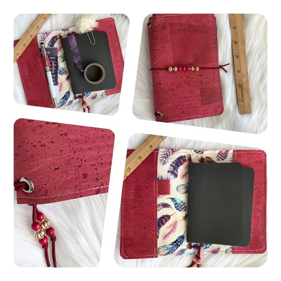 Field notes size TN natural cork traveler's notebook in raspberry pink with feather accents.  Artist made notebook, Inserts included!
