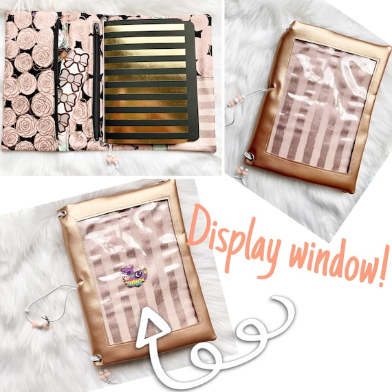 Luxurious rose gold vinyl pin window display notebook cover with roses and stripes. Super shiny!  A5 size.  Inserts included!