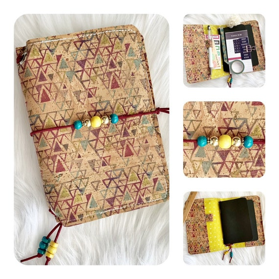 Field notes size TN natural cork notebook with funky geometric pattern  Inserts included!