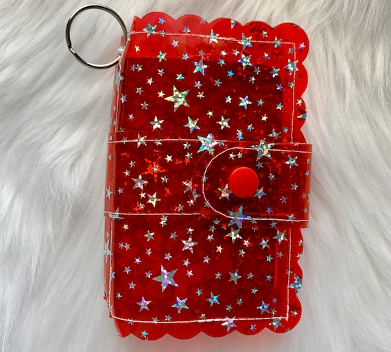 Take note!  Bright red Star jelly clip-on mini travelers notebook TN complete with handmade inserts. It's sparkly cuteness to go!
