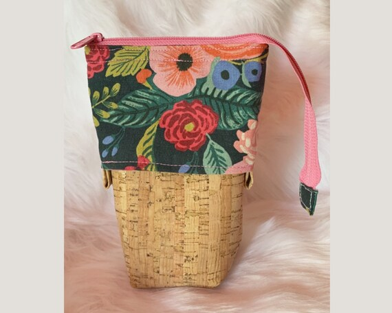 So clever! Sliding stand up pencil pouch in an expressive and colorful floral print with natural cork fabric