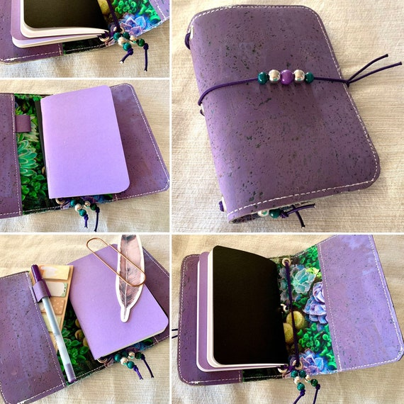 Field notes size natural cork notebook pretty in purple, succulent theme. This artist-made refillable notebook includes blank inserts