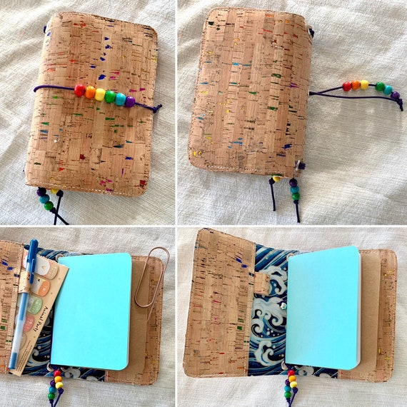 Field notes size natural cork notebook with rainbow foil flecks.  Artist-made refillable notebook includes inserts.  A perfect gift!