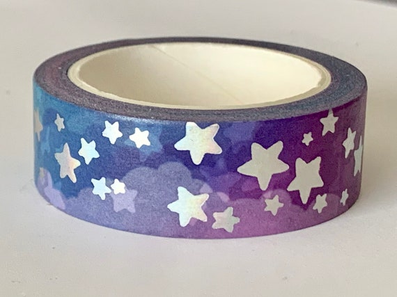 Original washi tape design, Purple clouds with holographic  star accents