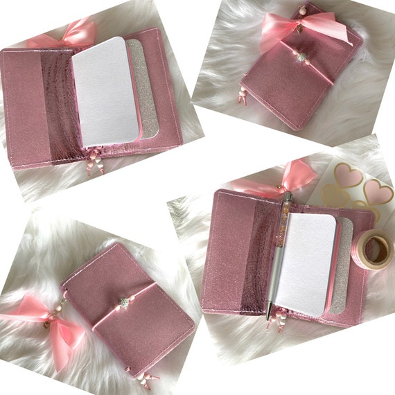 Miniature traveler's notebook in pink glitter marine vinyl, handmade charm and inserts included!