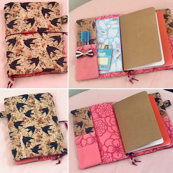 Refillable A5 cork notebook, natural with lovely bird pattern and coordinating floral printed fabric accents and pockets.  Inserts included
