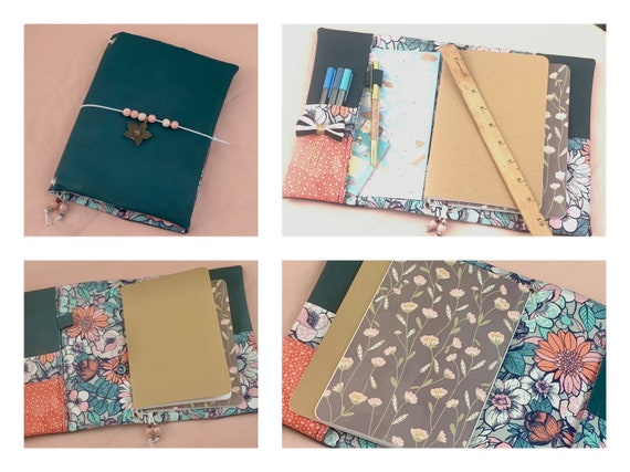 Refillable A5 cork notebook, in dark and rich teal with pretty floral fabric accents and pockets.  Inserts included