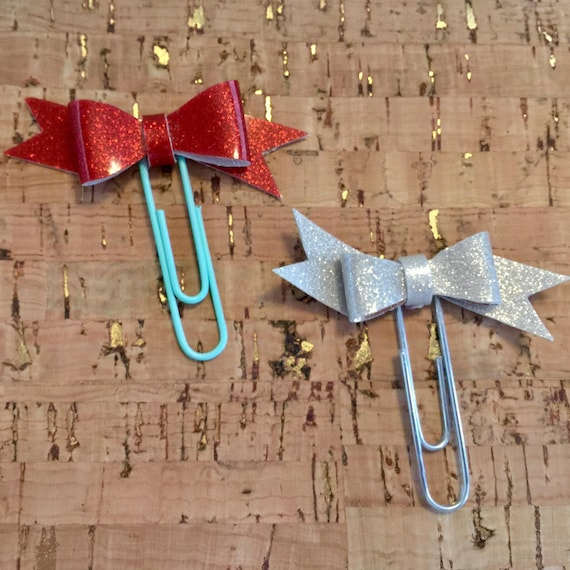 Set of two cute sparkly red vinyl bow planner paperclips, Planner charm, Bow charm