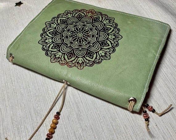 CLEARANCE: Refillable A5 TN traveler's style notebook in sage green goat's leather with original gold mandala design, inserts included!