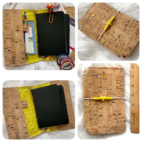 CLEARANCE Field notes size TN natural cork traveler's notebook with rainbow foil flecks and sunny yellow beads.  Includes inserts!