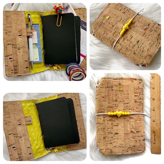 Field notes size TN natural cork traveler's notebook with rainbow foil flecks and sunny yellow beads. Artist made notebook includes inserts!