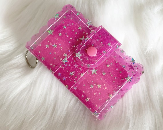 Take note!  Dark pink jelly clip-on mini travelers notebook TN complete with handmade inserts. It's sparkly cuteness to go!