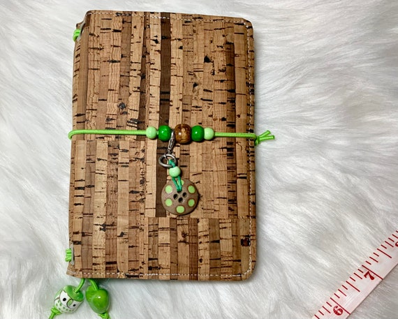 Cute and rustic field notes size natural cork notebook with green accents and polka dots, two blank notebooks included! One of a kind.