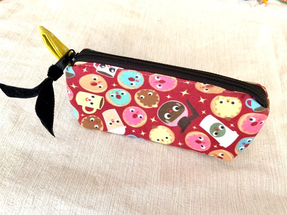 Kawaii coffee themed pencil pouch zipper pouch.  A smiley and simple pouch, perfect for gift giving or just keeping for yourself.