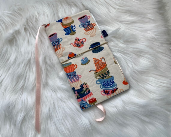 Handmade teacup print cover with blue accents for your favorite weekly planner :-)
