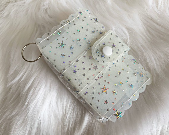 Take note!  Milky white jelly clip-on mini travelers notebook TN complete with handmade inserts. It's sparkly cuteness to go!