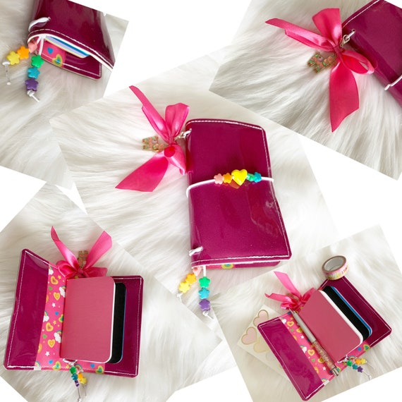 Miniature traveler's notebook in magenta glitter marine vinyl, handmade charm and inserts included!