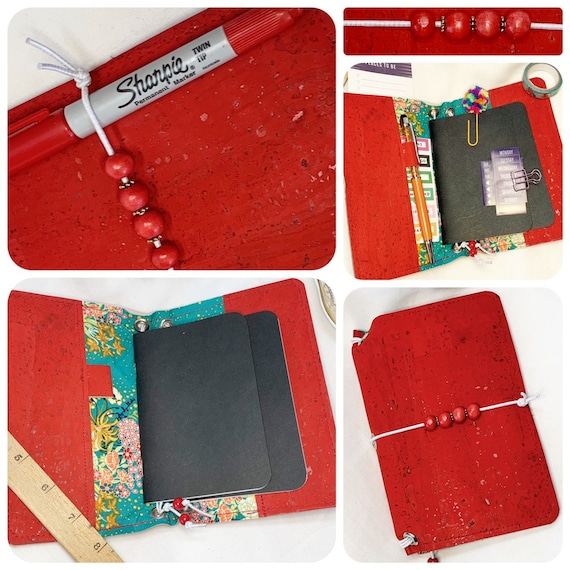 Field notes size TN natural cork traveler's notebook in rich red cork and floral themed fabric  Artist made notebook, Inserts included