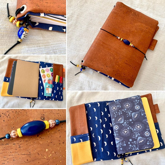 Refillable A5 cork notebook, rich copper color with navy blue accent fabric with moons, plenty of pockets.  Inserts included!