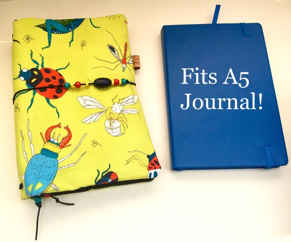 Quirky insect printed refillable A5 notebook, OOAK, in chartreuse!  Elastic bands for notebook inserts plus room for a hardbound A5 journal
