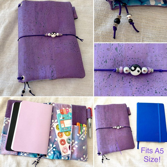 Refillable A5 cork notebook, purple color with coordinating fabric accents and pockets.  Inserts included!
