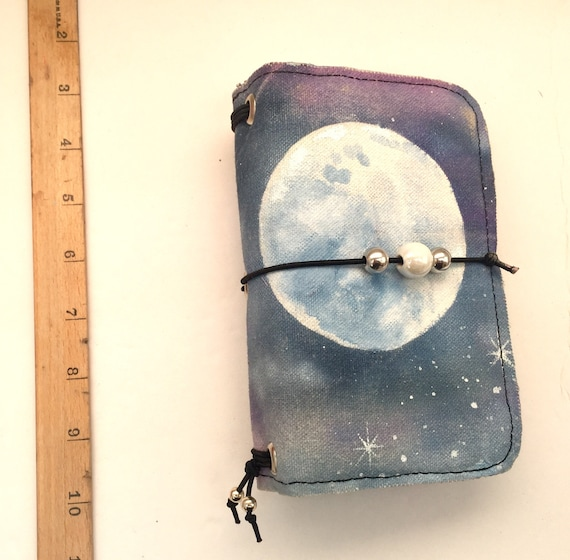 Positively magical OOAK handpainted field notes sized refillable moon notebook in canvas, slip pocket and inserts included!