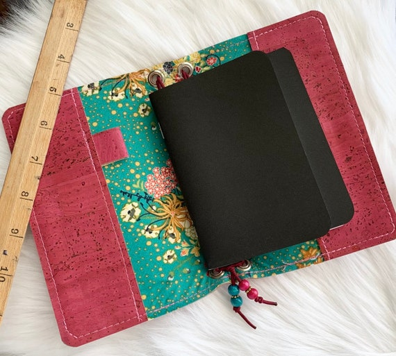 Field notes size TN natural cork traveler's notebook in raspberry pink with bohemian floral accents.  Artist made notebook, Inserts included