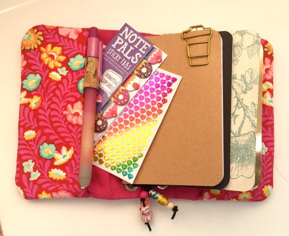 Pretty pink magenta floral print refillable notebook with a folk art feel, OOAK. Field notes sized in cotton and  canvas.  Inserts included!