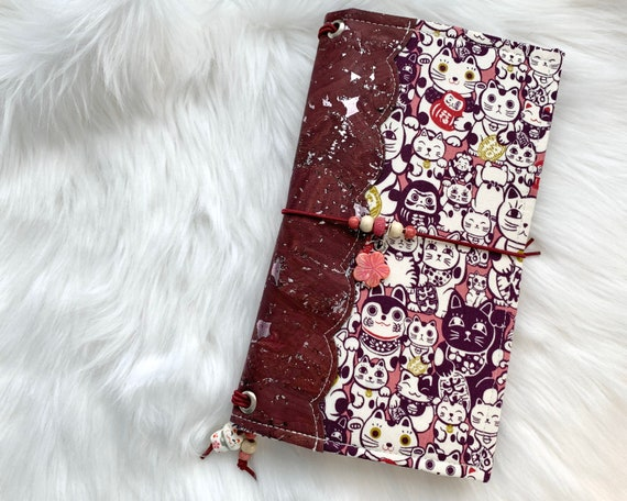 Gorgeous standard size traveler's notebook TN in rich wine red/metallic cork fabric with Japanese lucky cats. Inserts included!