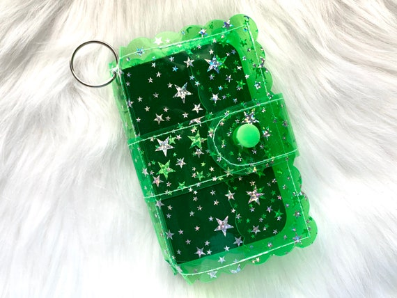 Take note!  Bright green jelly clip-on mini travelers notebook TN complete with handmade inserts. It's sparkly cuteness to go!