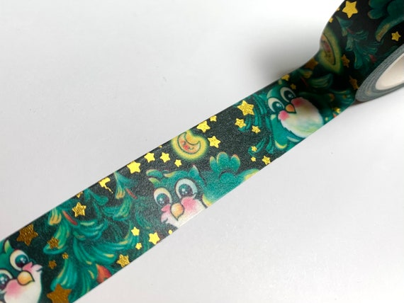 Original washi tape design, Owl and Moon with trees and gold foil accents