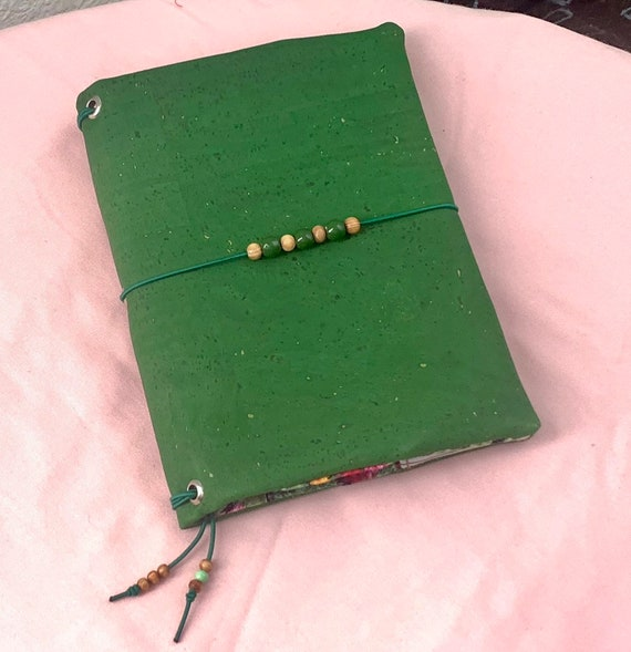 Refillable A5 cork notebook, green with fun coordinating cactus printed fabric accents and pockets.  Inserts included